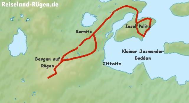 Wanderroute Bergen bis Pulitz
