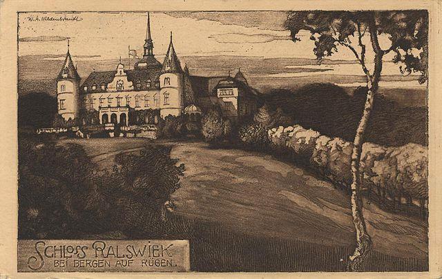 Postkarte vom Ralswieker Schloss auf Rügen